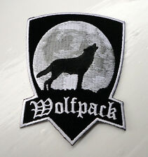 P1 Wolfpack Howling Wolf Moon Biker Iron on Patch White/Black