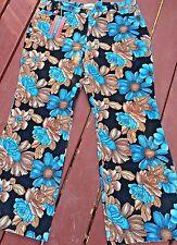 Funky Retro Hipster Vintage Style Disco Floral Corduroy Pants Blue Size XL BNWT