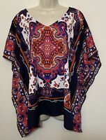 cb established 1962 XL Poncho Blouse Red Blue Winged Sleeve Relaxed Fit Top