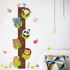 Jungle Animals Monkey Birds Tree Growth Chart Height Measure Wall Sticker Decor
