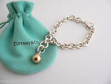 Tiffany & Co Silver 18K Gold Ball Fascination Dangle Bracelet Bangle Chain Clasp