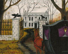 GICLEE PRINT OF PAINTING CROW HORSE RYTA GHOST HAUNTED GOTHIC MANSION HALLOWEEN