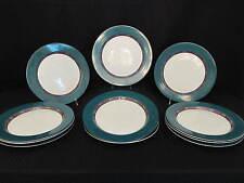"Set of 11 Dansk International Quiltings EMERALD BRAID 11"" Dinner Plates Portugal"