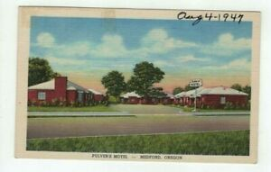OR Medford Oregon 1947 linen post card - Pulver's Motel