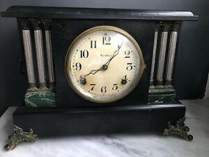 Vintage Antique Ingraham Mantel Mantle Clock Columns pendulum key