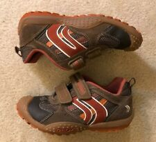 Euc! Youth Boys Geox Respira Brown Adjustable Sneakers Sz 1