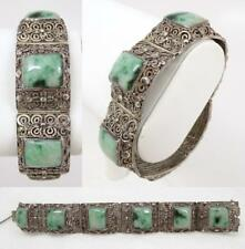 Fine Antique Chinese Filigree Silver & Jade Jadeite Bracelet signed H-K