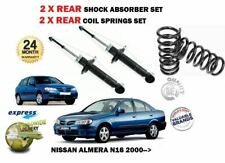 FOR NISSAN ALMERA N16 2000-> REAR LEFT + RIGHT SHOCK ABSORBERS and COIL SPRINGS