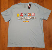 "Pac-Man ""I Have Followers"" Graphic Short Sleeve VTG T-Shirt Heather Blue XL NWT!"