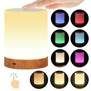 LED Rechargeable Warm White Night Light RGB Nightlight Bedside Table Touch Lamp