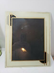 "Art Deco Reverse Painted Glass Frame Mid Century Black Gold Metal 10"" x 12"""