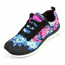 SKECHERS FLEX APPEAL WILD FLOWERS SHOE ZAPATOS MEMORY FOAM ORIGINAL 12448 BKMT
