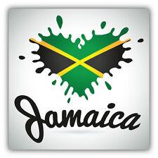 Jamaica Flag Heart Blot Label Car Bumper Sticker Decal 5'' x 5''