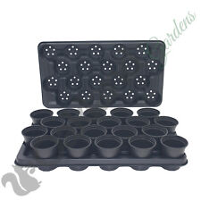 100 x 9cm Plant Pots + 5 x Carry Trays Combo Plastic Flower Pot Black
