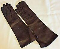 "Vintage Ladies Size 7 Kid Leather Gloves Pure Silk Lining Gimbels Holland 14.5"""