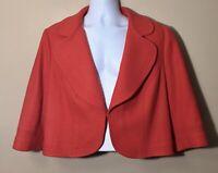 Boden Orange Cropped Blazer Jacket Wool Viscose Blend Womens Size 18