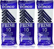 (Pack of 3) Dorco TD708 Twin Blade Disposable Men's Razors Total 30 CT
