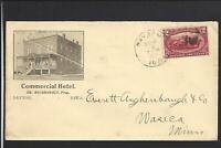"DAVENPORT,IOWA,1898,#286, ILLUST HOTEL ADVT COVER.  ""COMMERCIAL HOTEL""."