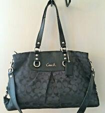 COACH Ashley Carryall Signature Canvas Patent Leather Black  F15510