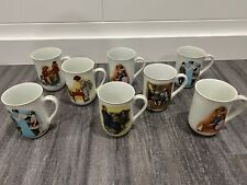 Authentic Norman Rockwell 1981-1982 Mug Collection (8 Mugs) 24k Gold Trim! Rare