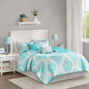 NEW! ~  CHIC BLUE AQUA WHITE GREY BEACH HOUSE COASTAL SOFT QUILT SET & PILLOWS