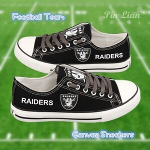 RAIDERS Football Team Canvas Black Shoes Sneakers Low Cut Lace Up Rugby Unisex