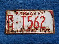 Vintage Original KANSAS 1957 RH T562 License VEHICLE Tag Man Cave Reissue.