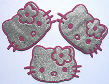 3 pcs Pink Silvery hello kitty Iron on patches Skirt hat Jean punk applique un#
