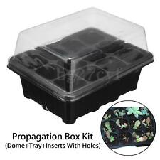 12 Cell Plug Black Propagation Tray Plant Seed Cloning Insert Clone Grow Box Kit