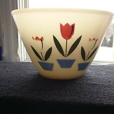 "Anchor Hocking FIRE KING 8-1/2"" TULIPS ON WHITE Bowl Splash Proof Vintage"