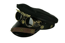 Scratch & Dent Steam Forces Black Captain Cap and Goggles Adult Steampunk Hat