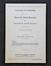 1940 International Harvester Farmall A & B Tractor Special Attachment Manual