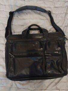 TUMI Alpha Expandable Black Leather Laptop Computer Briefcase Bag
