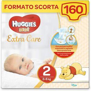 160 x Pannolini di taglia 2 (3 -6 kg) Huggies extra care bebè, Protezione pelle