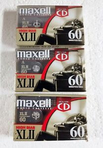 3 Maxell XLII 60 Minutes High Bias Cassette Tapes Blank Audio
