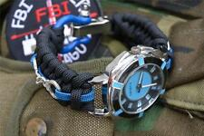 Extreme Police Officer Thin Blue Line Paracord Watch Blue Shackle Handcuffs
