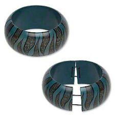 Stretch Bangle Bracelet Painted Wood Animal Print Design Blue & Brown