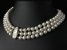 VINTAGE 14CT GOLD GENUINE SALTWATER AKOYA PEARL TRIPLE STRAND NECKLACE - 694