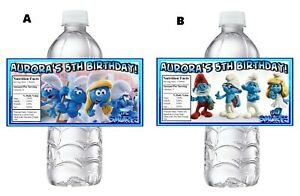 THE SMURFS PERSONALIZED BIRTHDAY PARTY FAVORS WATER BOTTLE LABELS WRAPPERS