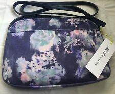 BCBGeneration Zipper Top Blue Night Crossbody Multicolor Floral Bag -New