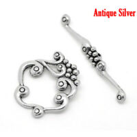 10Sets Antique Silver Toggle Clasps Findings Bracelet Necklace Bar Connector Hot