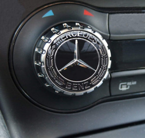 For Mercedes Logo Emblem Sticker 29mm Multimedia Interior Control Decal Badge