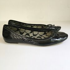 Coach Crinkle Patent Leather Black Slip-On Ballet Flats 8 Lonnie
