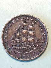1837 / 1841 Anti Martin Van Buren Political Hard Times Token Sailing Ships Nice!