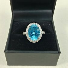Oval Cut Aquamarine & Diamond 14K White Gold Halo Engagement Ring Size 9