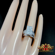 ROUND & BAGUETTE CUT LAB DIAMOND BRIDAL ENGAGEMENT RING BAND S6-9