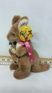 Sunwood Souvenirs soft toy Kangaroo with Joey, Tag And Label, 9 Ins High, Flag,