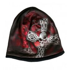 HD Sublimation Black Red Skull Celtic Iron Cross Biker Stocking Cap Beanie Hat