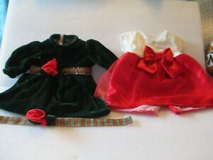 """Lot Of  2 DRESSES FOR 18"""" DOLL CHRISTMAS AND VALENTINES 3PC LOT"""
