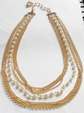 VINTAGE 1950's GOLD TONE MULTI STRAND CHAIN PEARL BEADS TIERED NECKLACE - JAPAN